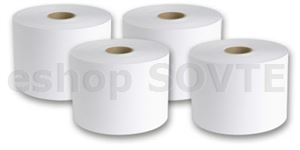 Labelstock DTM Poly White Gloss, permanent, 216mm x 370 Meters / Kraft 100 liner